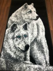 Modern Approx 5x2ft6 80cmx150cm Woven Top Quality wolves Silver/Black Rugs/Mats